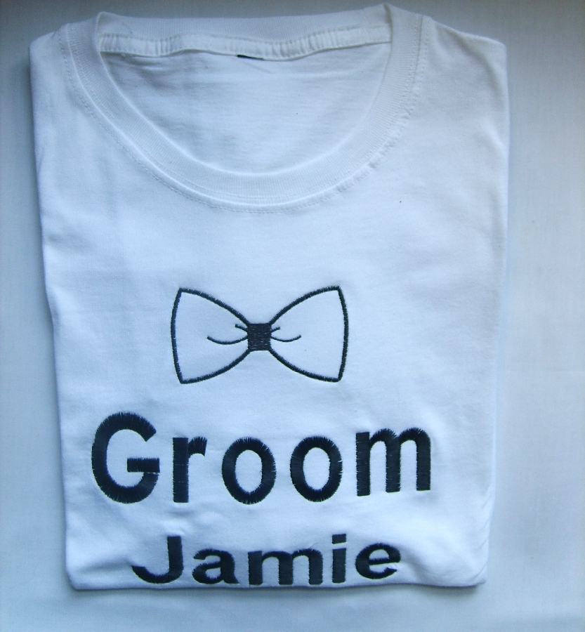 groom--name-and-bow-tie--t-shirt-