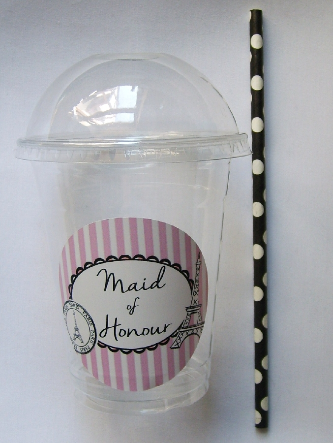 plastic-dome-cup--maid-of-honour-paris-themed--straw--1-qty-