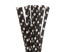 paper-straw--black-&amp-white-polka-dots-10-set-