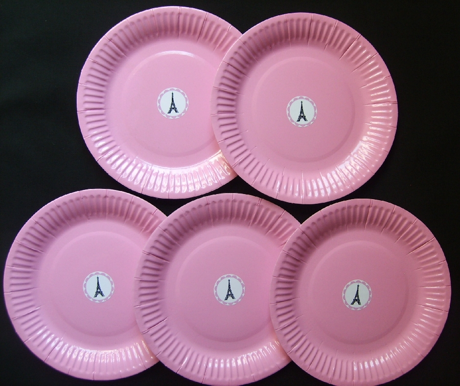 paper-plates--baby-pink--paris-themed--5-qty-